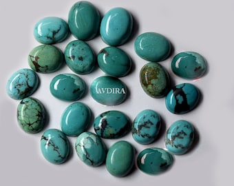 Natural Blue Turquoise 7x9mm-10x12mm Smooth Oval Flat Back Cabochon ~ American Turquoise Gemstone ~ Turquoise Cabochon Lot ~ Gemstone Cabs