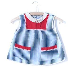 Vintage sailor dress kids dress 80s kids dress size 110 baby maritim baby dress girl sailor Waldorf carnival carnival 90s 90s