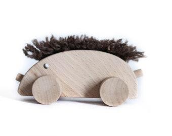 Vintage Wooden Animal Hedgehog Trackanimal Wood Figure Figure 70s Kids Toy Wooden Toy Zoo Animal Pets Vintage 60s Waldorf