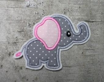 Elefant Applikation Aufnäher Patch Bügelbild Sticker mint grau für kinder