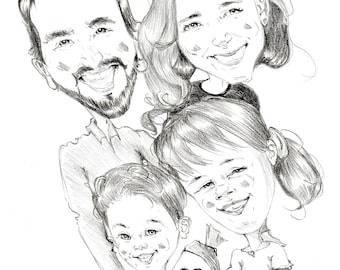 Family caricature for school enrollment (hand drawing - personalized)