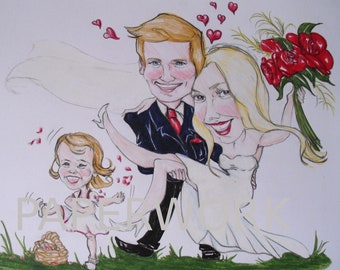 funny wedding caricatures (commision work)
