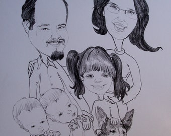 family cartoon in black & white (commisioned)
