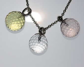 Ball pendant, faceted, 16 mm, 925 silver