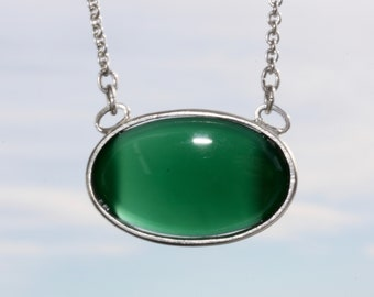 Green Agate - Necklace, Necklace, 925 Silver