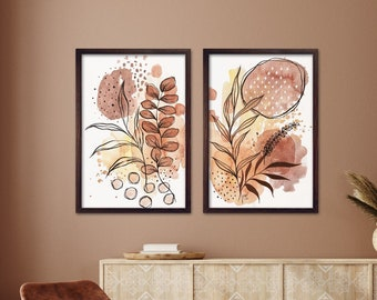 INDIANSummer, Watercolor Contemporary Art, Mixed Media Painting, Set of 2 Fineartprint Posters