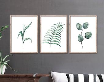 PLANTS Watercolor-ART, Set of 3 Fineartprint-Poster, Watercolor/Watercolor