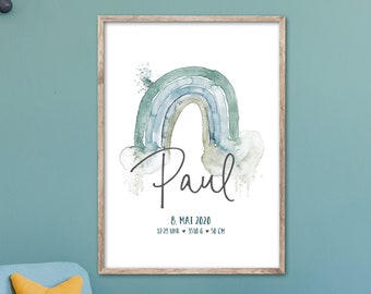 Rainbow POSTER, Gift for Baptism/Birth, Birth Poster with Name, Colorful, Grey, Turquoise, Pink