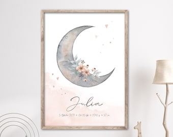 Birth poster CRESCENT with flower tendril