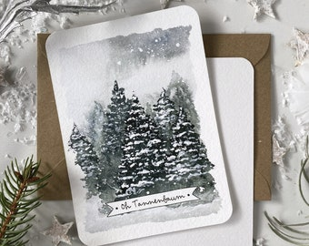 Christmas card OH TANNENBAUM, postcard Winterwald with envelope