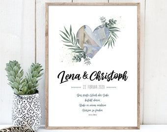 Gift of money for the wedding, wedding poster with heart and twigs, name, date and saying