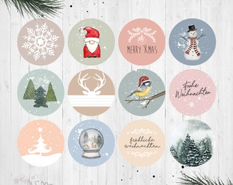 """24 Stickers/Stickers """"Christmas"""", COLORFUL"""