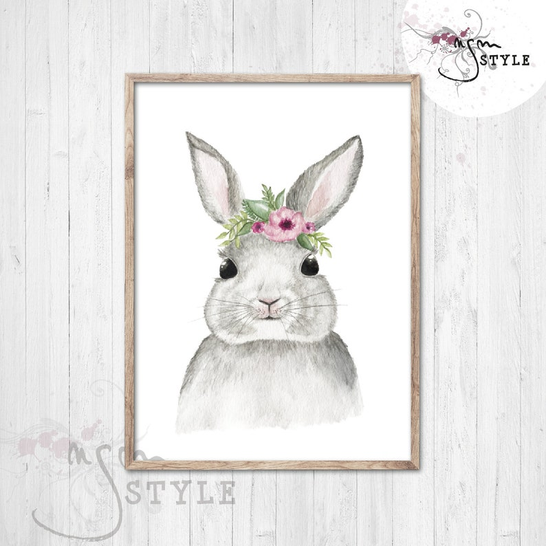 Animal poster HASE with flower wreath Watercolor ART A5 or image 0