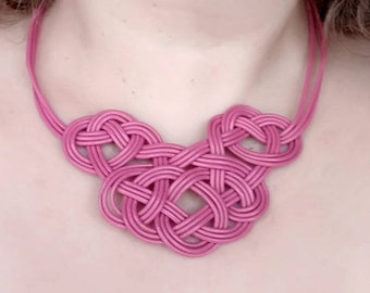 Leather bib necklace for women, ethnic necklace, irish knot necklace, nautical knot necklace, gift under 30 for woman, celtic knot necklace