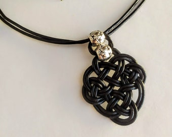 Leather necklace woman with irish symbol pendant, celtic knot necklace, african leather necklace, ethnic leather necklace knot necklace