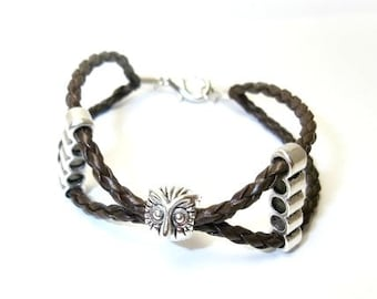 Leather bracelet for women with lucky owl, owl bracelet, unisex gift bracelet, boho bracelet braided leather, hippie bracelet, lucky gift