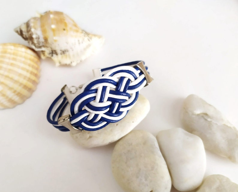 Leather bracelet with sailor knot in blue and white beach image 0