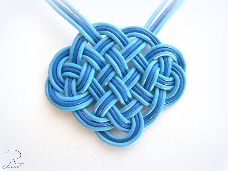 Blue pendant with a Celtic knot in natural leather short necklace with leather pendant