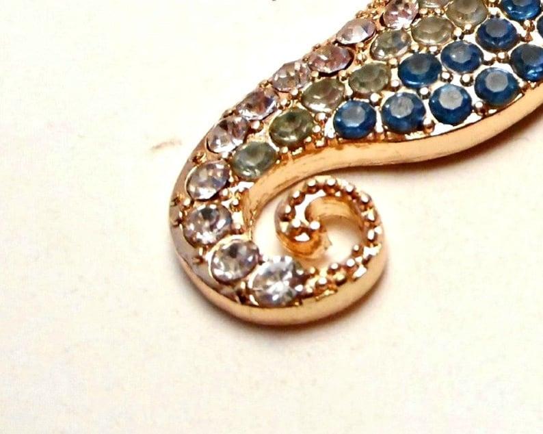 women/'s nautical pendant blue and gold sea horse pendant Blue sea horse pendant
