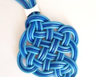Blue leather sailor knot pendant for woman, beach necklace with blue pendant, sailor knot necklace, leather sailor pendant.