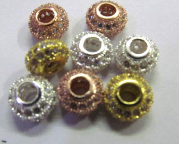 20pcs métal cuivre rond Rondelle cristal Micro pavé de de pavé cristal perles, perles de zircon cubique de connecteur pour les 6-12mm de fabrication de bijoux c99fb0
