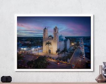 San Servacio, Valladolid, Yucatan, Church, Mexico, Francisco Canton Rosado, Blue hour, Wall art, Landscape Photography, Digital download