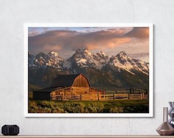 Grand Teton National Park, T.A. Moulton Barn, Mountains, Wall art, Landscape Photography, Mormon Row, Wyoming, Sunrise, Digital download