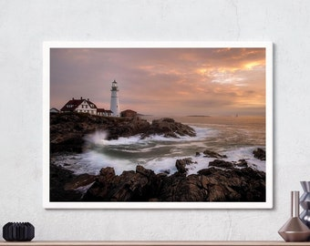 Portland Head Light, Fort Williams, Lighthouse, Maine, Wall art, Landscape Photography, Cape Elizabeth, Sunrise, Seaside, Digital download