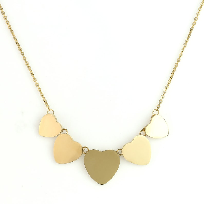 United Elegance Contemporary Gold Tone Multi Heart Necklace and Coordinating Earring Set