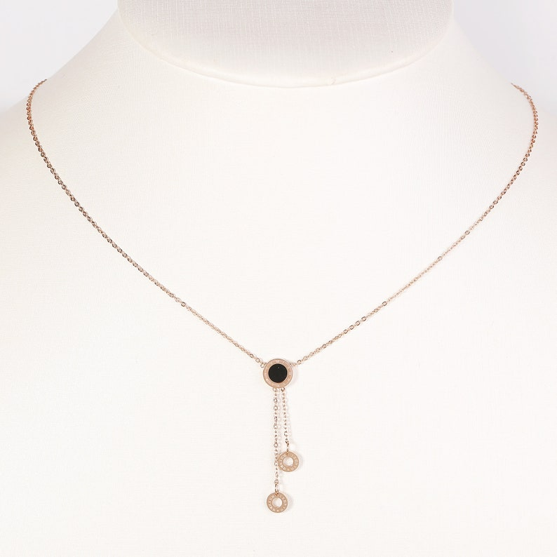 Contemporary Rose Tone Designer Pendant Necklace with Jet Black Inlay and Dangling Circular Charms