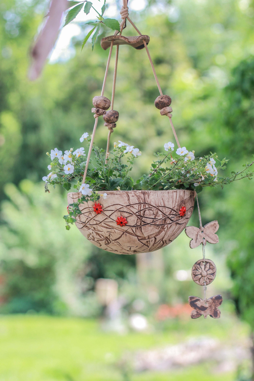 Flower light Margerit Red 23 cm, flower pot, plant pot, pot, garden  ceramic, with drain hole, direct planting, hanging light