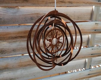beautiful wind chime sun,rusty decoration,filigree worked, spiral for garden, garden decoration for hanging, wind chime, shabby