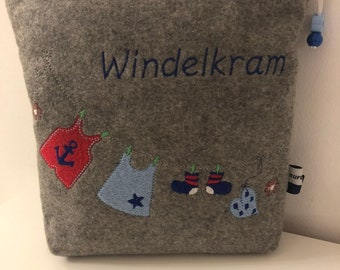 Diaper bag with embroidered clothesline and desired name wool felt *gift for birth*gift for baptism