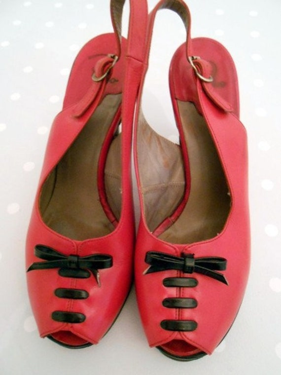 78df53afac Cute red 50s sling pumps vintage laced | Etsy