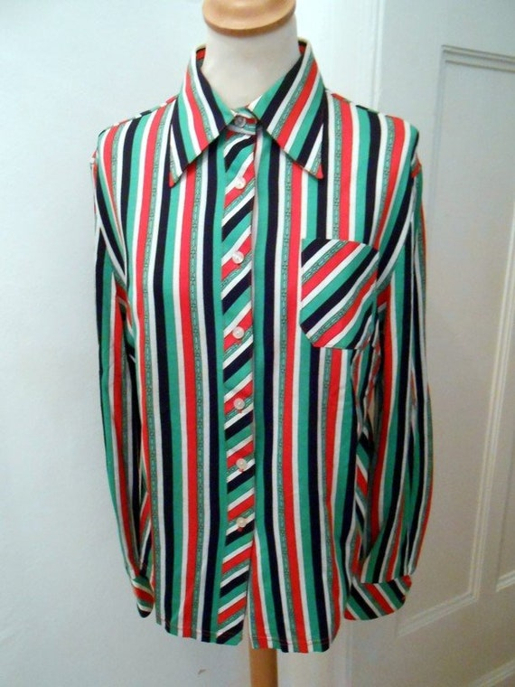 Shirt blouse 70s green orange striped