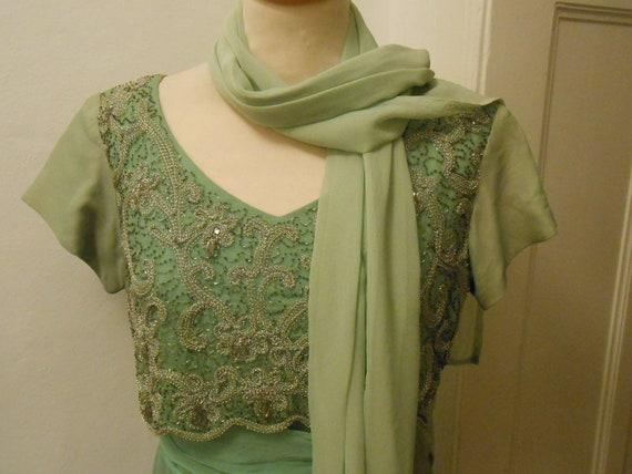 Sequins and chiffon mint green 60s dress
