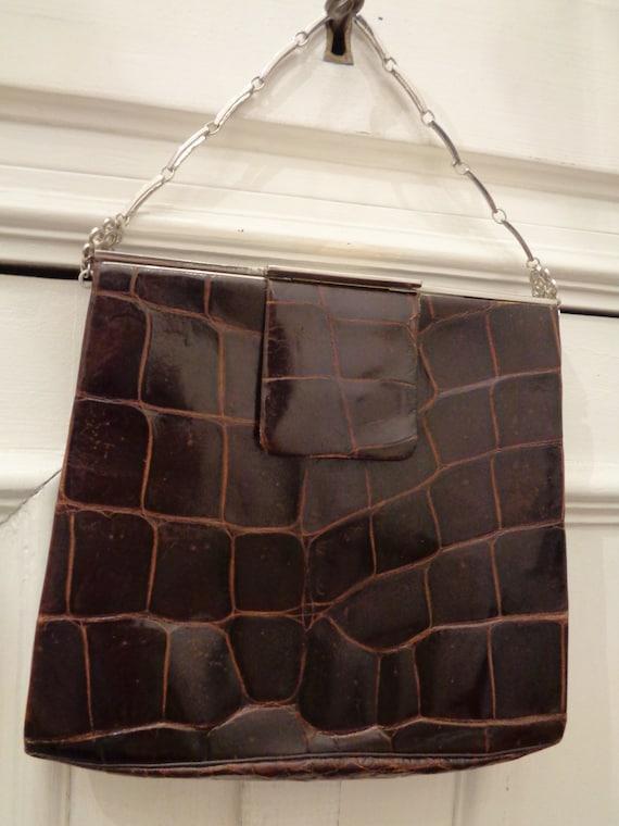 cute 20s 30s handbag crocodile brown
