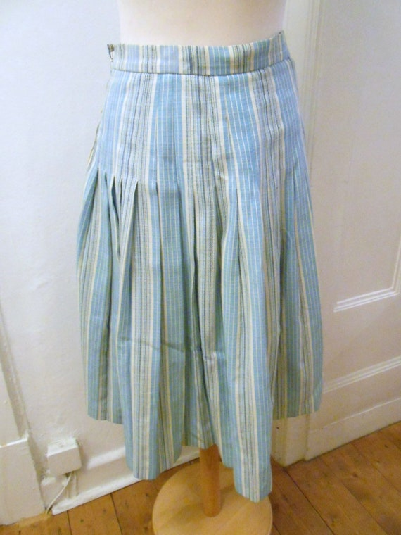 50s 60s light blue white striped pleated skirt lin