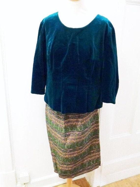 Two-piece velvet top brocade skirt 60s petrol gree