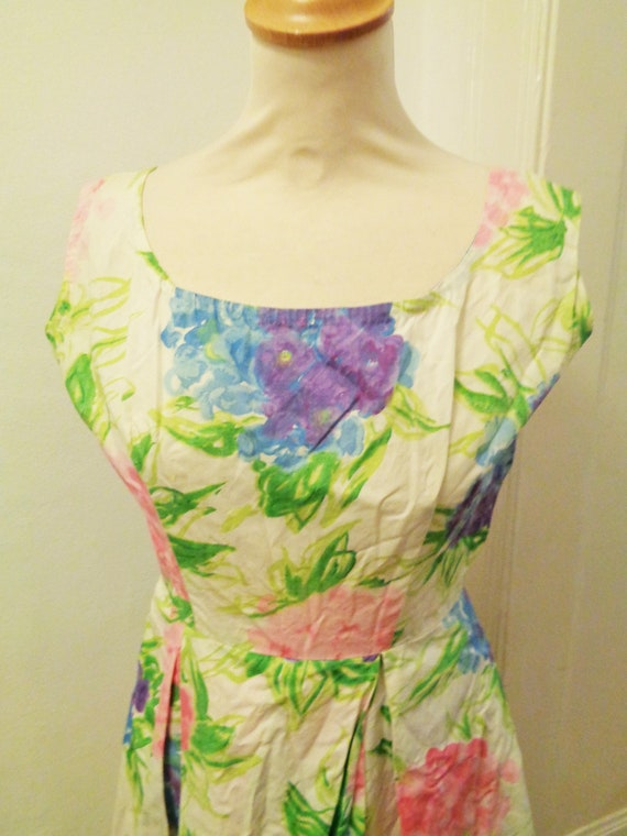 cute floral summer dress colorful 50s - image 2