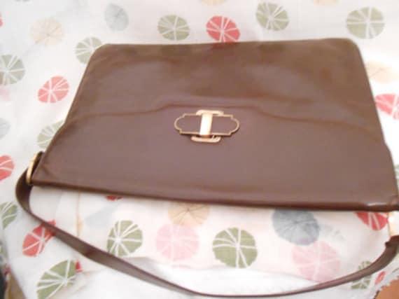 Big brown 20s 30s clutch handbag