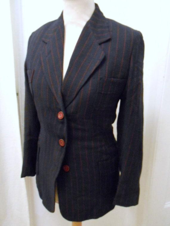 40s 70s dark blue red striped women jacket