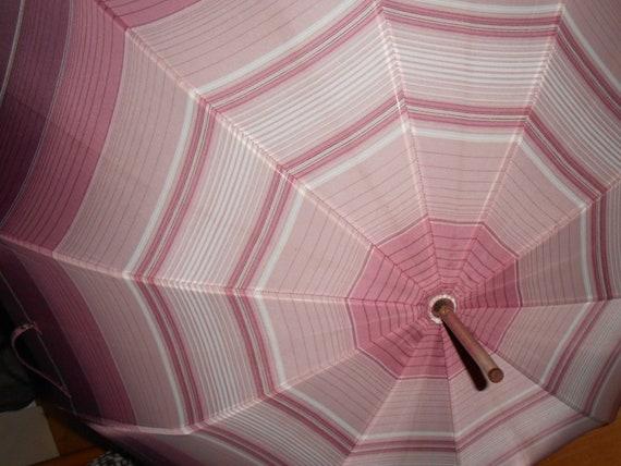 beautiful 70s umbrella pink white striped