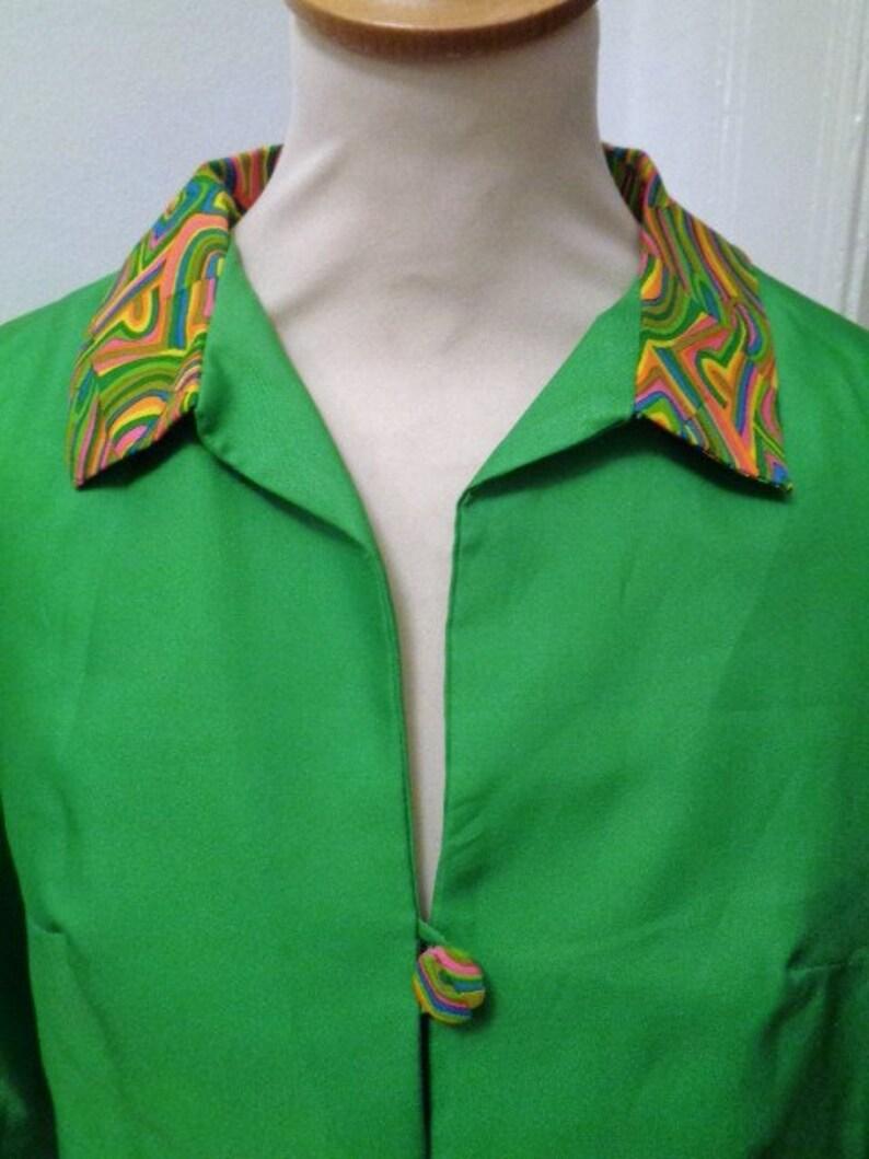 Zweiteiler Kleid Jacke grüne Seide bunt 60er 70er | Etsy
