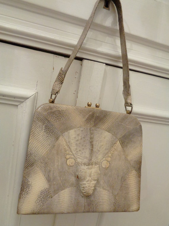 40s handbag in lizard beige grey
