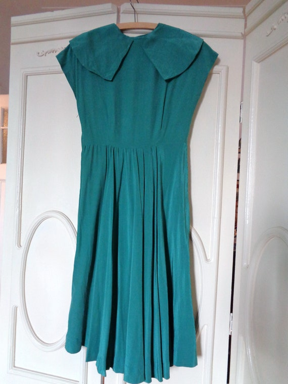40s 50s green silk dress