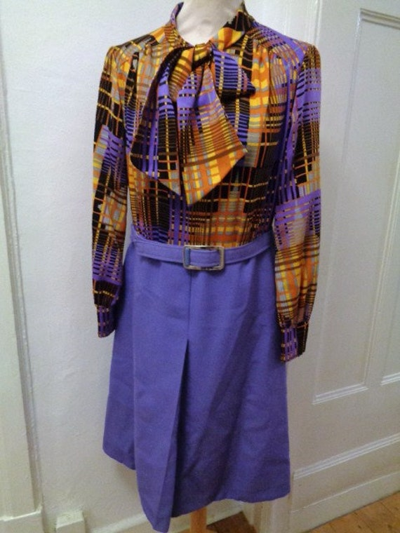 shrill 70s two-piece dress and jacket purple orang