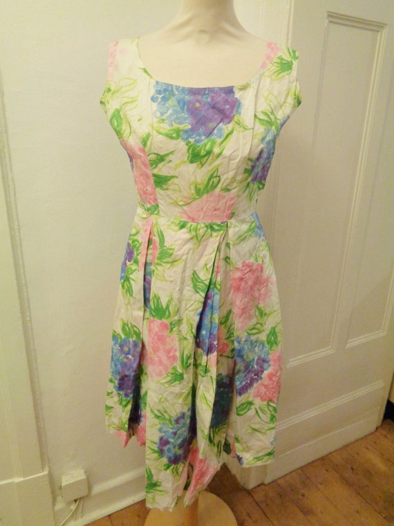 cute floral summer dress colorful 50s - image 1