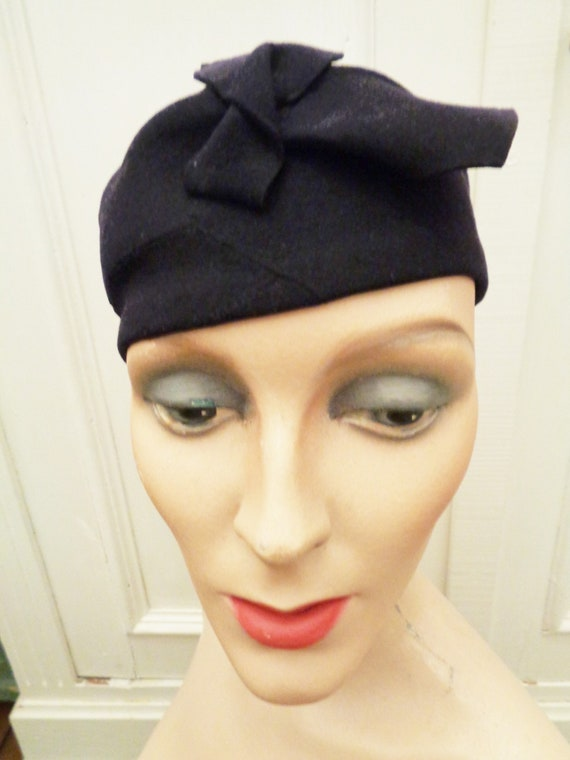 20s 30s night blue felt hat headpiece