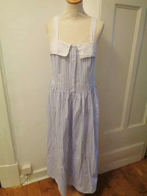 blue white striped summer dress 70s strap dress 50